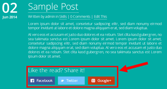 Frontend - sample post social arrow